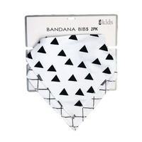 Bandana Bib 2pk - Black Triangle/Check