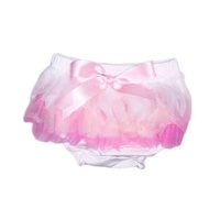 Baby Bloomers - White/Pink - Cotton, 6-24mth