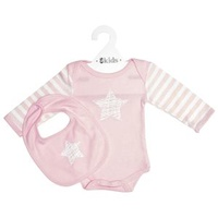 Clothing Set LS - Pink Scribble Star - 100% Cotton