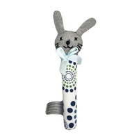 Bunny Rattle Sml - Blue/Green - 16cm