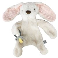 Bunny Comforter with Dummy Holder - Cream/Pink - 30cm