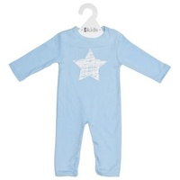 Romper LS - Blue Scribble Star - 100% Cotton