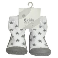 Rubber Soled Socks - Grey Star