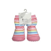 Rubber Soled Socks - Pink Rainbow