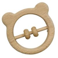 Bear Wooden Baby Rattle - 9cm
